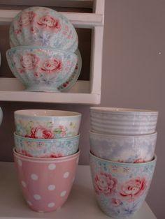 GreenGate Stoneware Bowls Lulu, Latte Cups Naomi, Julliet, Lulu, June and Phoebe