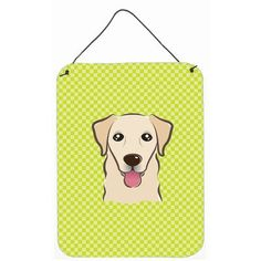 "Caroline's Treasures Checkerboard Lime Green Golden Retriever Painting Print Plaque Size: 16"" H x 12"" W x 0.02"" D"