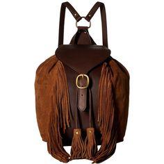 Frye Clara Fringe Backpack (Dark Brown Soft Vintage Leather/Suede)... ($498) ❤ liked on Polyvore featuring bags, backpacks, vintage leather backpack, backpack bags, brown fringe bags, suede backpacks and brown bag