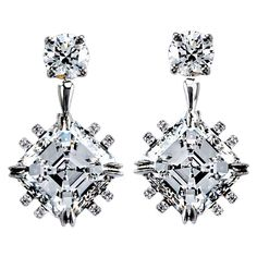 Asscher-Cut Diamond Earrings | From a unique collection of vintage dangle earrings at http://www.1stdibs.com/jewelry/earrings/dangle-earrings/