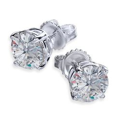 14Kt White Gold, Charles and Colvard Certified Moissanite, Round 4-Prong Stud Earrings 0.70 TCWT