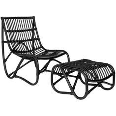 Safavieh Shenandoah Black Wicker Chair and Ottoman Set $227