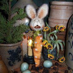 "Primitive Spring Rabbit Bunny Carrot 9"" Doll Vtg Patti's Ratties Easter Bear"