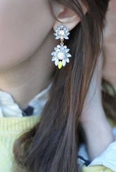 Pretty earrings! Also, inspiration for coral polka dotted sweater. Could do a white blouse with pretty diamond earrings.