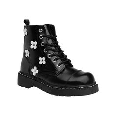 Women's T.U.K. Original Footwear Anarchic Flower Combat Boot - Black... ($75) ❤ liked on Polyvore featuring shoes, boots, black, leather military boots, black boots, black army boots, grunge boots and black leather boots