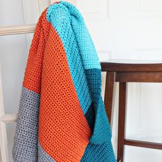Free Pattern for a Simple Color Blocked Crochet Baby Blanket, thanks so xox