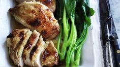 Food. Neil Perry's roast lemongrass and ginger chicken with Asian greens.  SMH GOOD WEEKEND Picture WILLIAM MEPPEM   GW121020