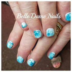Hand painted Gelish marbled manicure. By Felicity Burgess - Young at Belle Dame Nails.