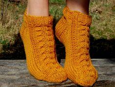 Hand knit wool slippers Hand knit wool socks Handmade by luludress
