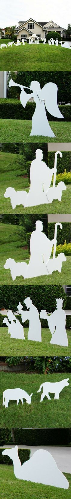 Teak Isle Christmas Outdoor Complete Nativity Scene, Large, Christmas Outdoor Complete Nativity Scene - Large. Display the True Reason for the Season. Beautiful silhouette style nativity that complements any yard without looking overly commercial. Nativity set..., #Outdoor Living, #Garden Sculptures & Statues