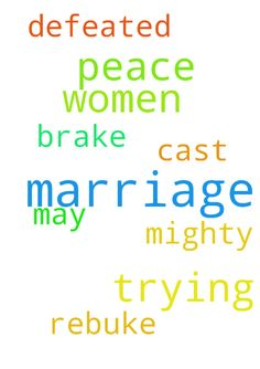 I pray for peace in my marriage  these women trying - I pray for peace in my marriage these women trying to brake my marriage may they be defeated in the mighty name of Jesus Amen I cast them out in rebuke them in Jesus name amen  Posted at: https://prayerrequest.com/t/KsT #pray #prayer #request #prayerrequest