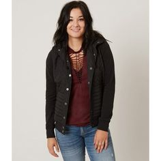 RVCA Unlabel Jacket ($75) ❤ liked on Polyvore featuring outerwear, jackets, black, rvca jacket, rvca, snap front jacket, fleece lined jacket and hooded quilted jacket