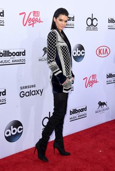 Kendall Jenner At The 2015 Billboard Music Awards Shines In A Pearl-Adorned Balmain Blazer | Bustle