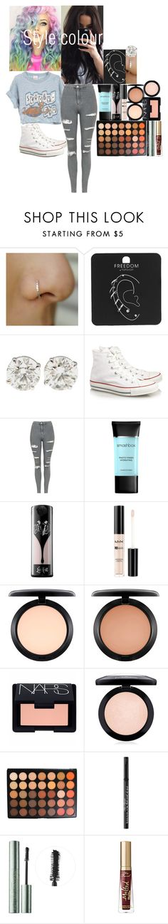 """""""Boyfriend does my makeup video"""" by fuckmeirwin ❤ liked on Polyvore featuring Topshop, Converse, Smashbox, Kat Von D, NYX, MAC Cosmetics, NARS Cosmetics, Morphe and Too Faced Cosmetics"""