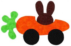 """Bunny carrot car iron on applique DIY by patternoldies on Etsy 8""""x5"""" $1 shipping $4.00"""