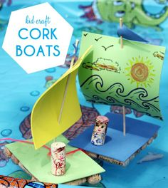 DIY Cork Boats, these boats are a blast to make and even more fun the play with!  // smallfriendly.com