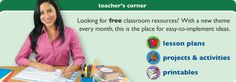Lakeshore Learning Teacher's Corner with tons of free resources. They have a new theme every month!