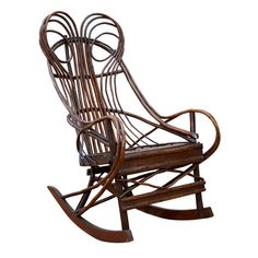 19th Century Hickory Bentwood Rocking Chair From Pennsylvania.