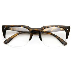 ded767b09d Retro Dapper Indie Clear Lens Half Frame Clubmaster Glasses 9404