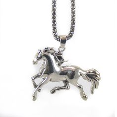 Long silver horse pendant necklace