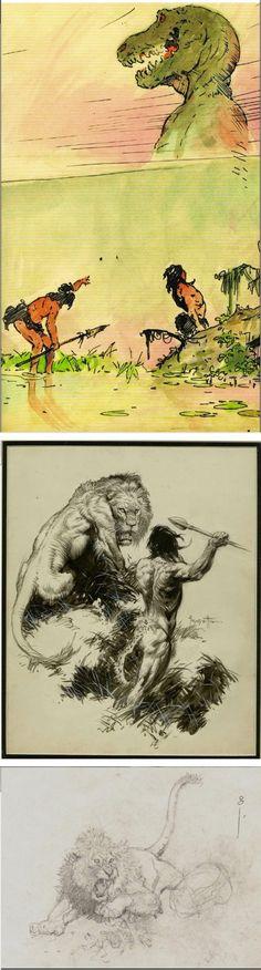 FRANK FRAZETTA - 3 Animal Sketches - prints by capnscomics.blogspot.com