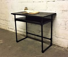 Amazon.com: Berkeley Industrial Vintage Home Office Mid Century Writing Computer Pipe Desk With Lower Shelf With Reclaimed Aged Sustainable Wood (Dark Brown Stained wood): Kitchen & Dining