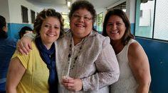 Equipe Gestora:  Comemoração de aniversário da Coordenadora Pedagógica Ailana (à esquerda) e da Vice Diretora Helena (à direita). Ao centro, a Diretora Eliana.