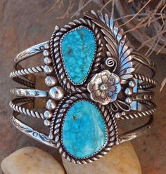 Navajo Sterling Silver Five Wire Two Stone Water Web Turquoise Bracelet