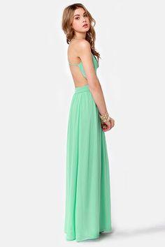 Backless Dress - Mint Green Dress - Maxi Dress -