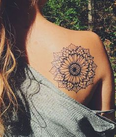 Mandala Sunflower Black and White Back Shoulder Tattoo Ideas at MyBodiArt.com #beautytatoos