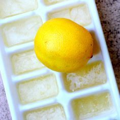 I filled an ice tray with straight lemon juice and set it in the freezer. Now, each morning I just heat up a little water, toss a cube in, and sip my lemon water! For honey lemon water too! Yummy Drinks, Healthy Drinks, Healthy Snacks, Yummy Food, Healthy Recipes, Detox Recipes, Detox Drinks, Healthy Choices, Healthy Life