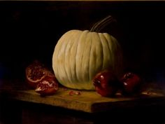 White Pumpkin with Pomegranates by LOIS EAKIN