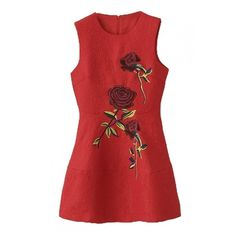 Red Round Neck Sleeveless Rose Embroidery Jacquard Dress ($21) ❤ liked on Polyvore featuring dresses, sleeveless dress, rosette dress, no sleeve dress, rose dress and red day dress