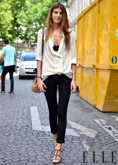 White blouse studded sandals