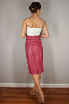 Vintage Pink Leather Pencil Skirt HIGH by EleanorsAntiquities