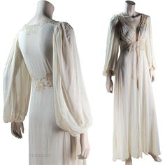 Romantic 1930's Silk Chiffon And Lace Peignoir Nightgown Set Long  #RubyLane #vintage #lingerie