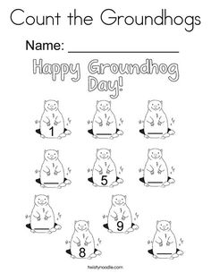 Count the Groundhogs Coloring Page - Twisty Noodle