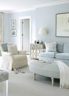 38 Cool Trendy Paint Colors For Minimalist Houses - Schlafzimmer Light Blue Paints, Light Blue Walls, Light Blue Paint Colors, Coastal Living Rooms, Living Room Decor, Coastal Cottage, Coastal Homes, Paint Colors For Living Room, Pastel Living Room