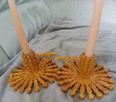 Castiçais molas de madeira