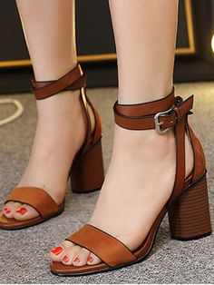 Chunky Heel Suede Ankle Strap Sandals - BROWN 38