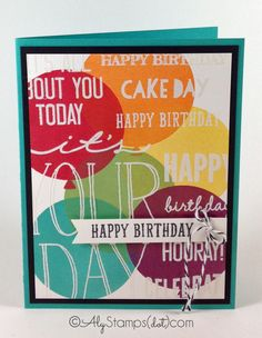 Birthday Card using the Celebrate Today Stamp Set by Stampin' Up! for the background and creating a custom sentiment Background Images using a big clear block and multiple sentiments!