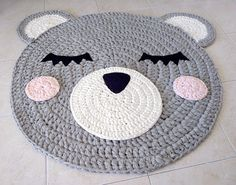 Adorable handmade crochet bear rug. Perfect for the nursery or kids room. Made from soft cotton Diameter of a rug is 100 cm (40 inches) + plus 20 cm years Can be washed in washing machine on wool mode cold water , and air dry flat.