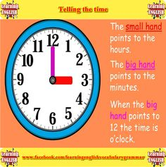 Learning to tell the time in English using pictures and a video