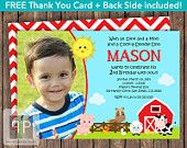 Farm Animals Birthday Invitation, Petting Zoo, Boy Birthday, Horse, Farm, Cow, Free Thank You Card, Front and Back, Printable Invitation