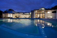 Evening, Pool Lighting, Modern Retreat in Davie, Florida