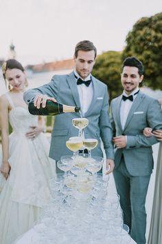 Champagne fountain fun.