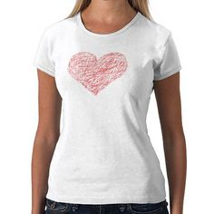 Sketched heart red pen tee shirt - special Heart t-shirt from Zazzle for just $19.95!