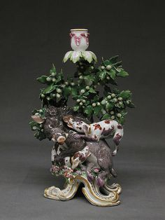 Chelsea Porcelain Manufactory (English), 1745–1784, Gold Anchor Period, 1759–69)  Candle stick one of a pair Date:     ca. 1760–65