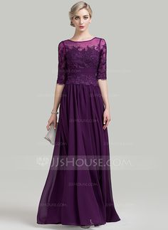 A-Line/Princess Scoop Neck Floor-Length Ruffle Beading Sequins Zipper Up Covered Button Sleeves 1/2 Sleeves No 2016 Grape General Plus Chiffon Mother of the Bride Dress