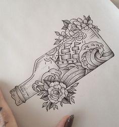 Ship in a Bottle Tattoo by Medusa Lou Tattoo Artist - medusaloux@outlook.com